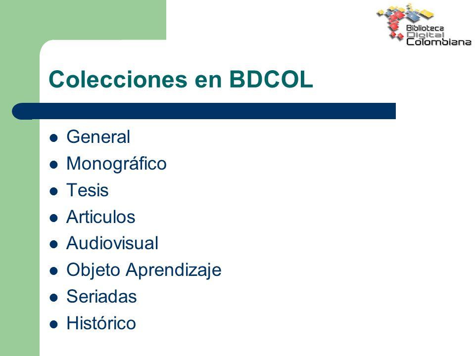 Colecciones en BDCOL General Monográfico Tesis Articulos Audiovisual