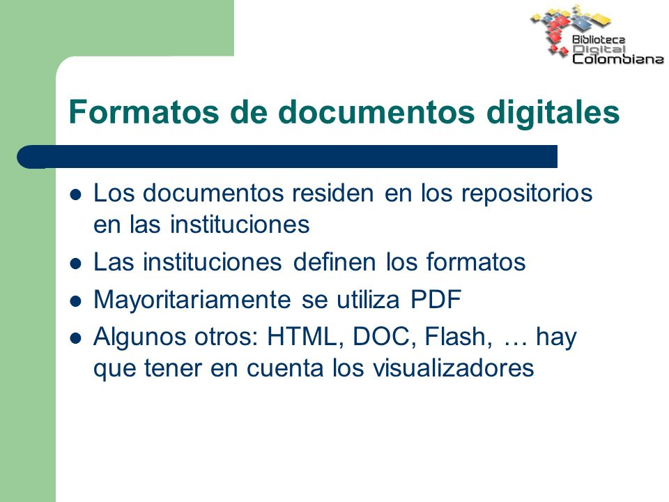 Formatos de documentos digitales