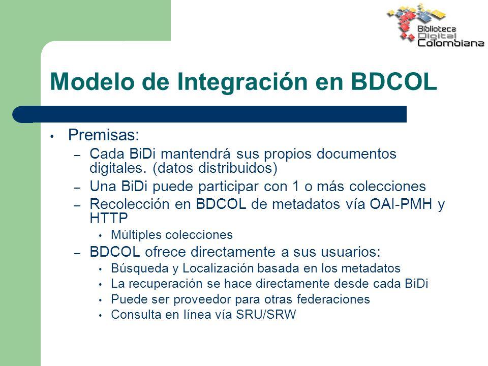 Modelo de Integración en BDCOL
