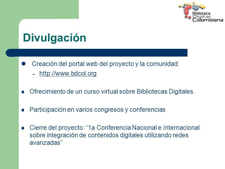 Divulgación Creación del portal web del proyecto y la comunidad: