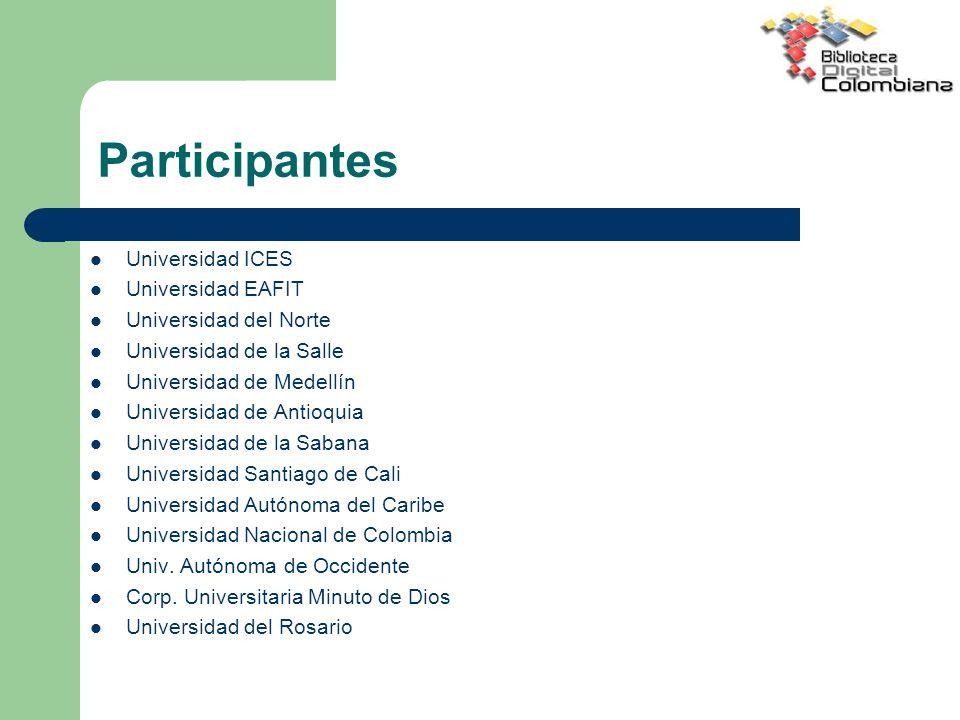 Participantes Universidad ICES Universidad EAFIT Universidad del Norte