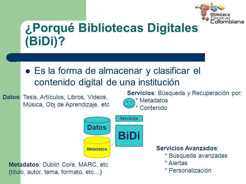 ¿Porqué Bibliotecas Digitales (BiDi)