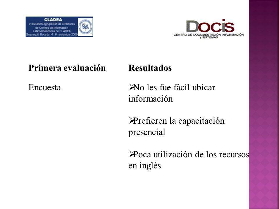 Primera evaluación Encuesta. Resultados. No les fue fácil ubicar información. Prefieren la capacitación presencial.