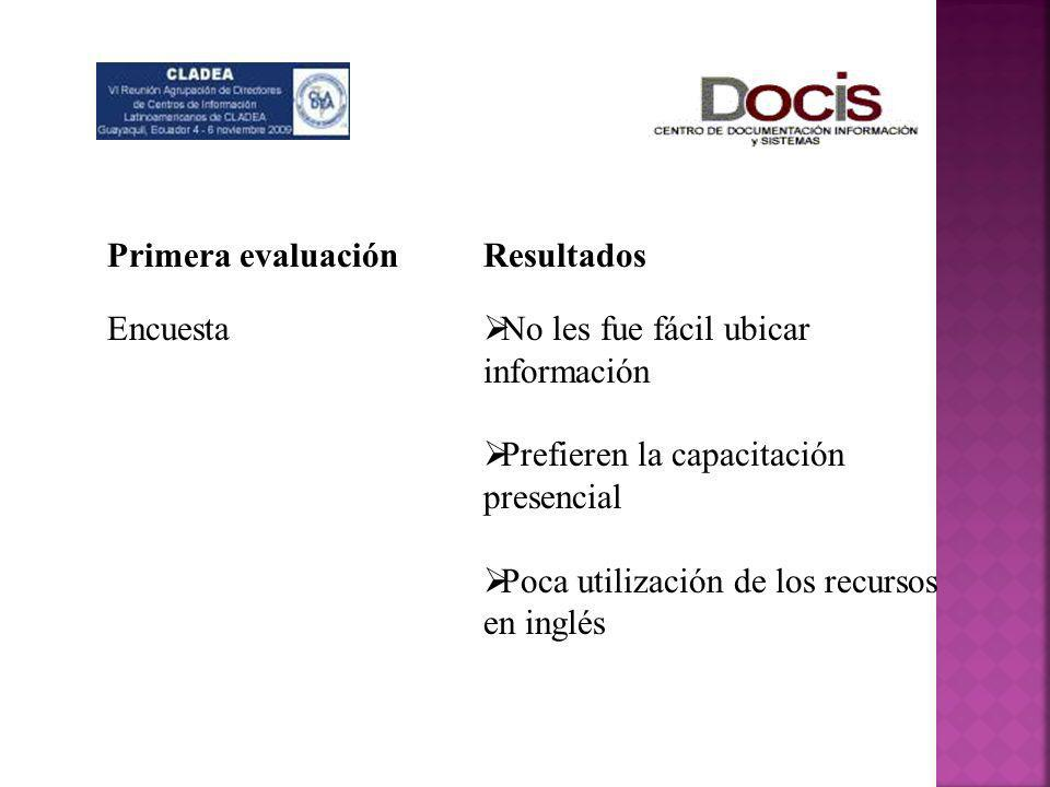 Primera evaluaciónEncuesta. Resultados. No les fue fácil ubicar información. Prefieren la capacitación presencial.