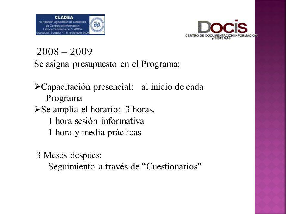 2008 – 2009 Se asigna presupuesto en el Programa: