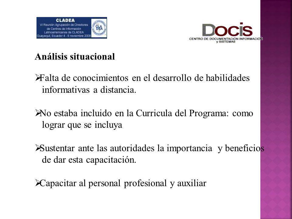 Análisis situacional Falta de conocimientos en el desarrollo de habilidades. informativas a distancia.