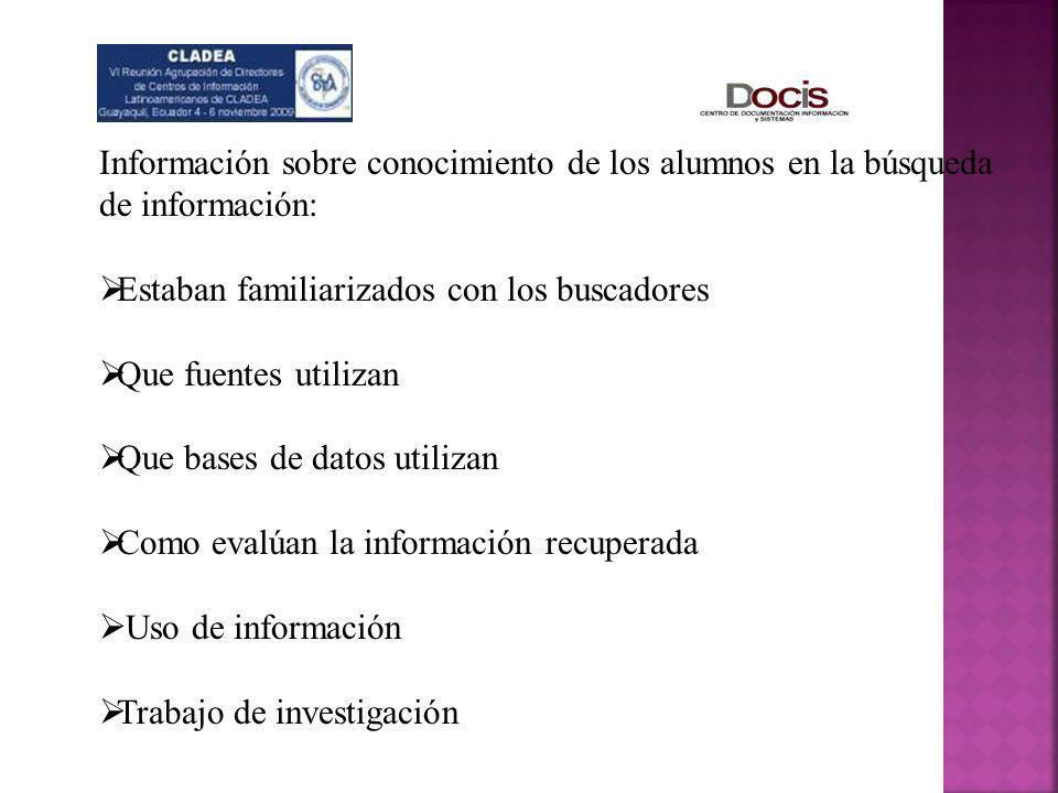 Información sobre conocimiento de los alumnos en la búsqueda de información:
