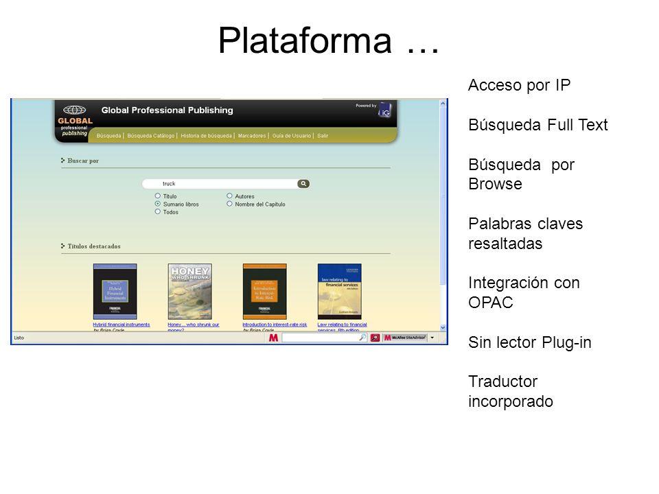 Plataforma … Acceso por IP Búsqueda Full Text Búsqueda por Browse