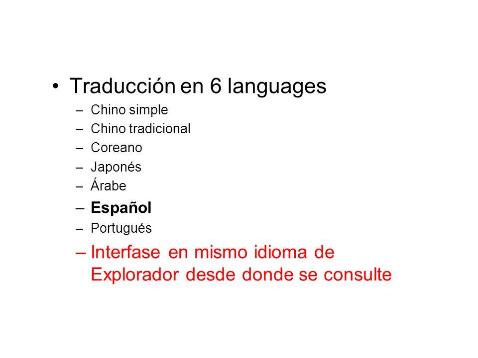 Traducción en 6 languages
