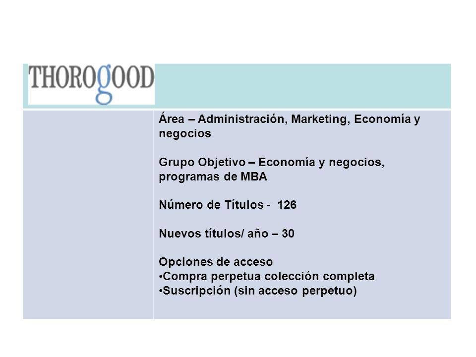 THOROGOOD Área – Administración, Marketing, Economía y negocios