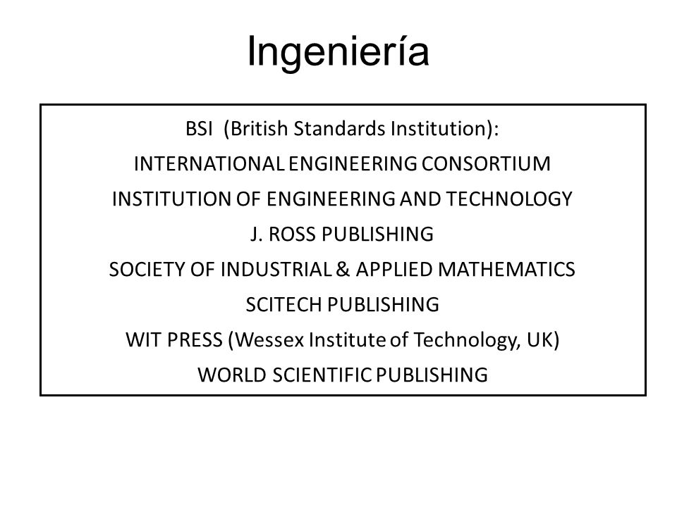 Ingeniería BSI (British Standards Institution):