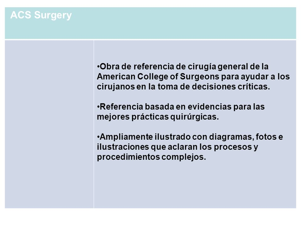 ACS Surgery Obra de referencia de cirugía general de la American College of Surgeons para ayudar a los cirujanos en la toma de decisiones críticas.