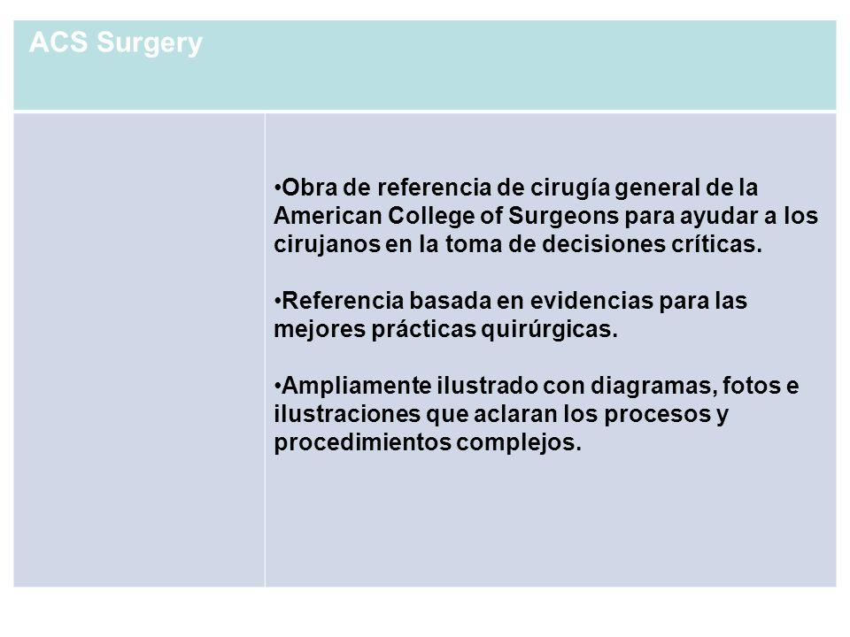 ACS SurgeryObra de referencia de cirugía general de la American College of Surgeons para ayudar a los cirujanos en la toma de decisiones críticas.