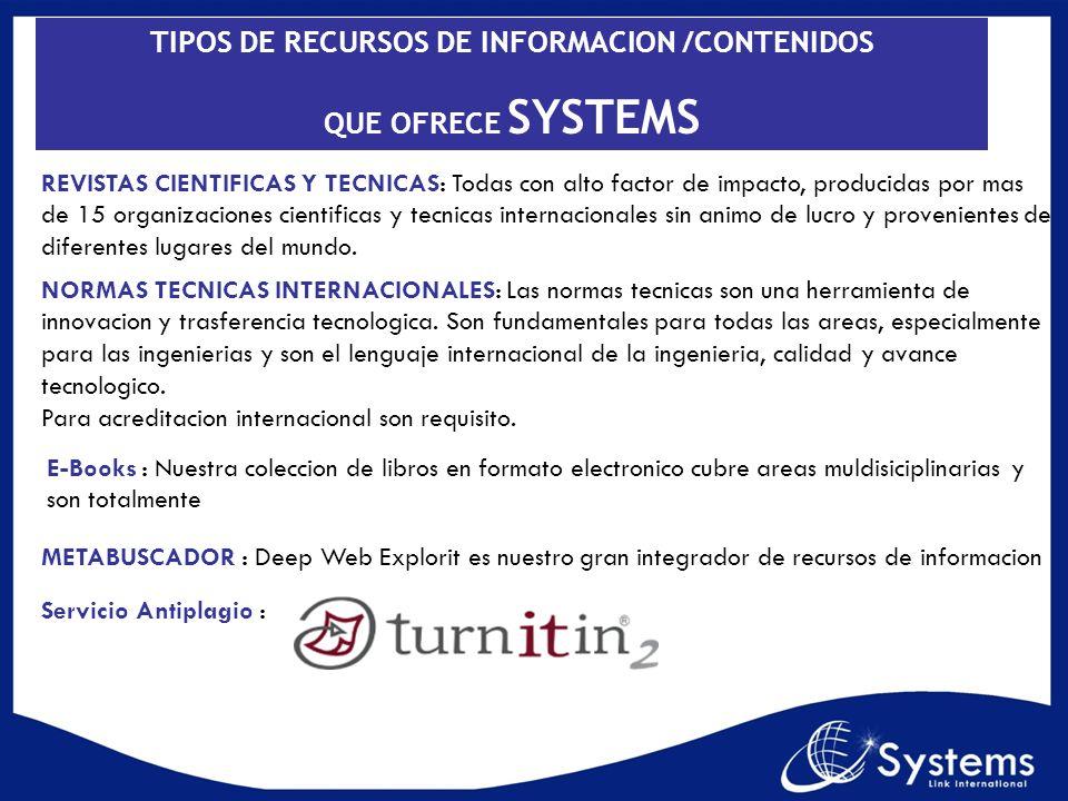 TIPOS DE RECURSOS DE INFORMACION /CONTENIDOS