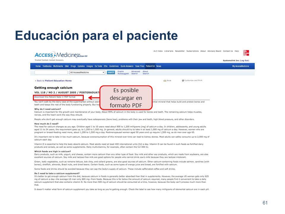 Es posible descargar en formato PDF