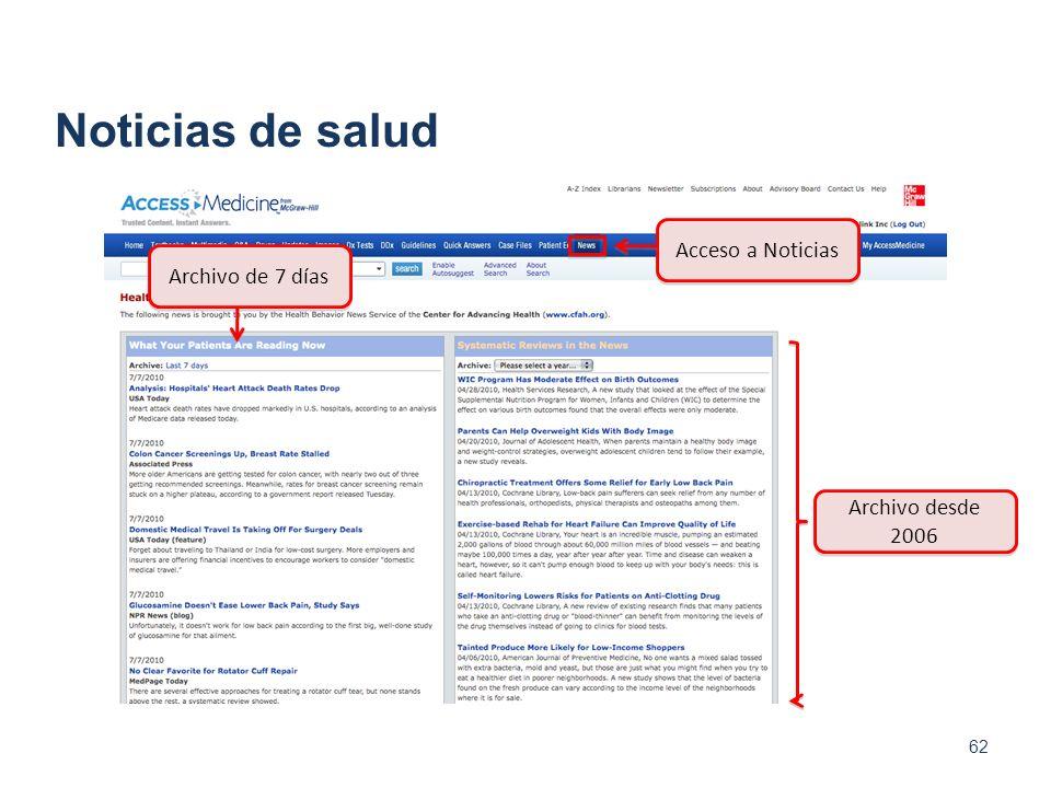 Noticias de salud Acceso a Noticias Archivo de 7 días
