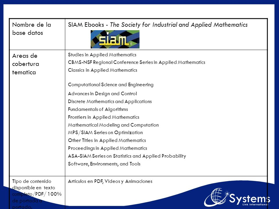 SIAM Ebooks - The Society for Industrial and Applied Mathematics