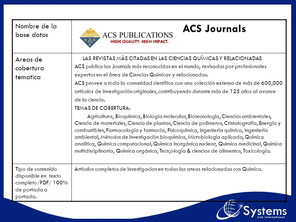 ACS Journals Nombre de la base datos Areas de cobertura tematica