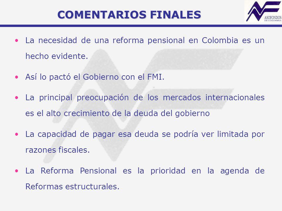 COMENTARIOS FINALES La necesidad de una reforma pensional en Colombia es un hecho evidente. Así lo pactó el Gobierno con el FMI.