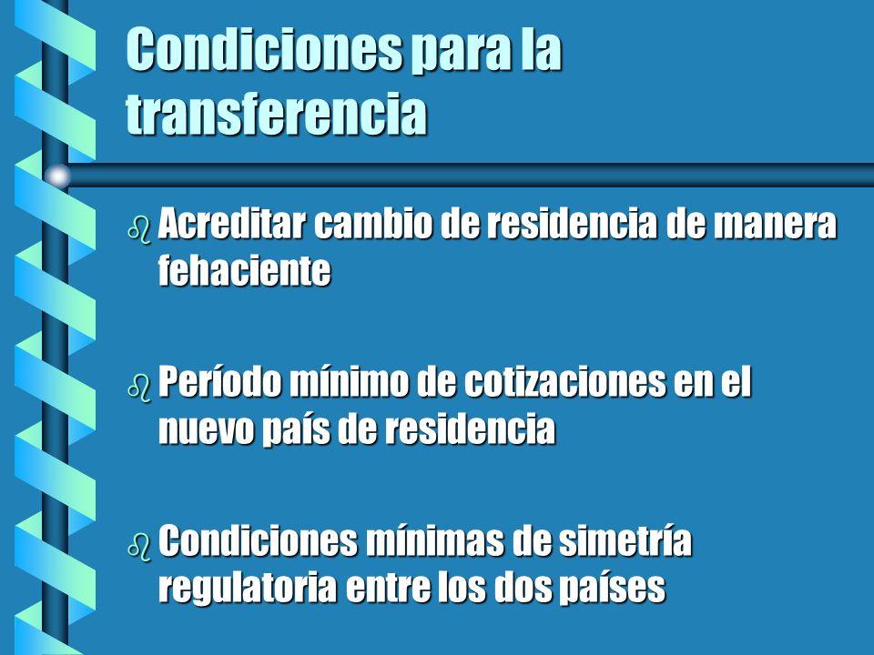 Condiciones para la transferencia