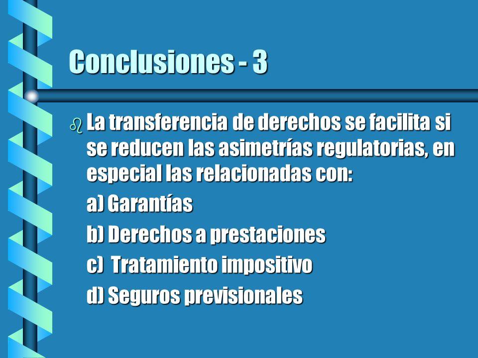 Conclusiones - 3 La transferencia de derechos se facilita si se reducen las asimetrías regulatorias, en especial las relacionadas con: