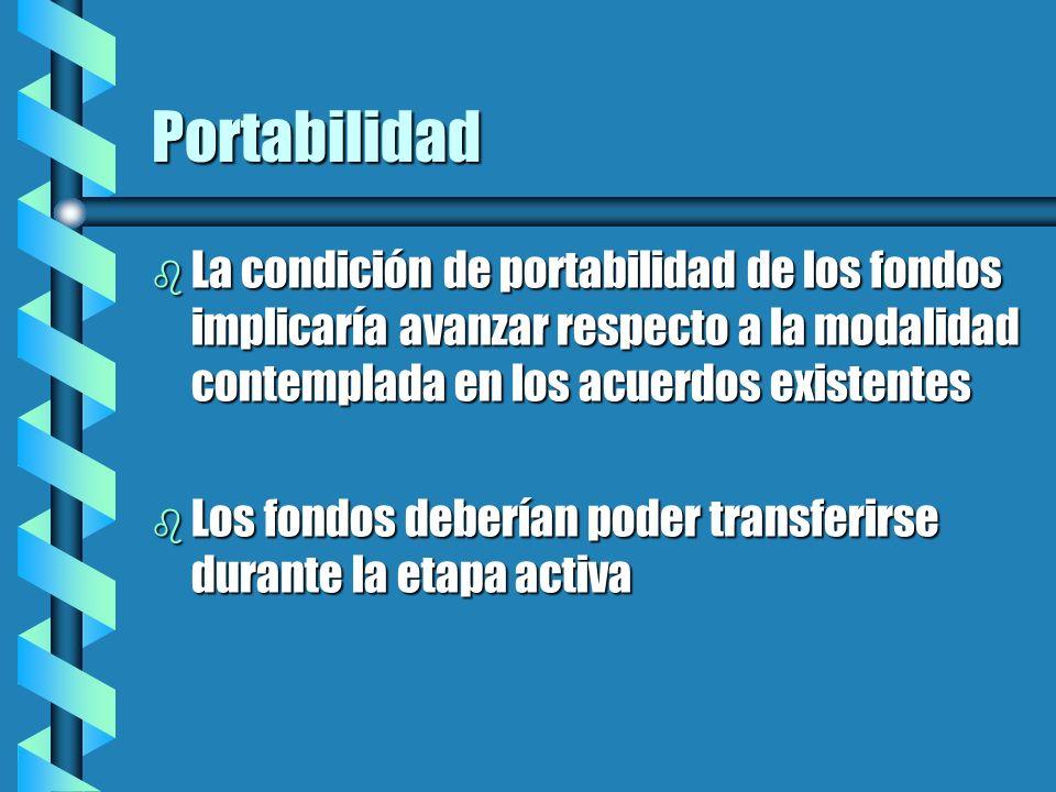 Portabilidad La condición de portabilidad de los fondos implicaría avanzar respecto a la modalidad contemplada en los acuerdos existentes.
