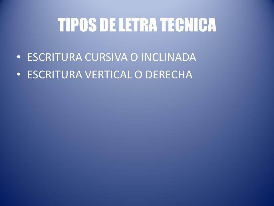 TIPOS DE LETRA TECNICA ESCRITURA CURSIVA O INCLINADA