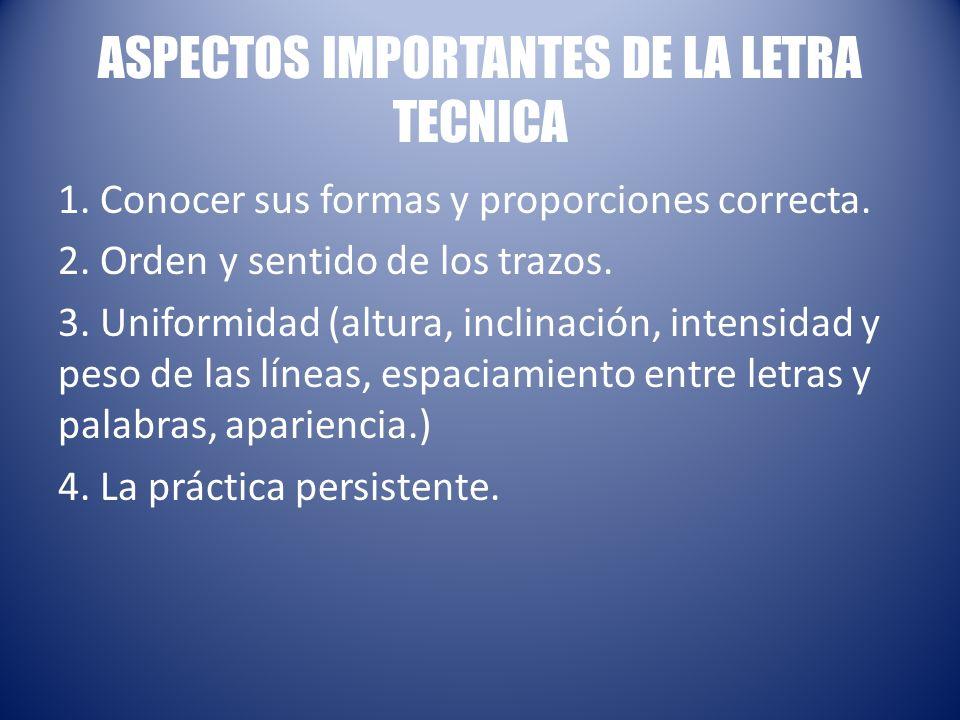 ASPECTOS IMPORTANTES DE LA LETRA TECNICA