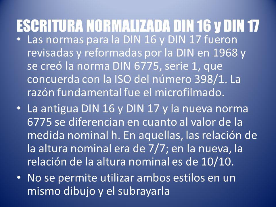 ESCRITURA NORMALIZADA DIN 16 y DIN 17