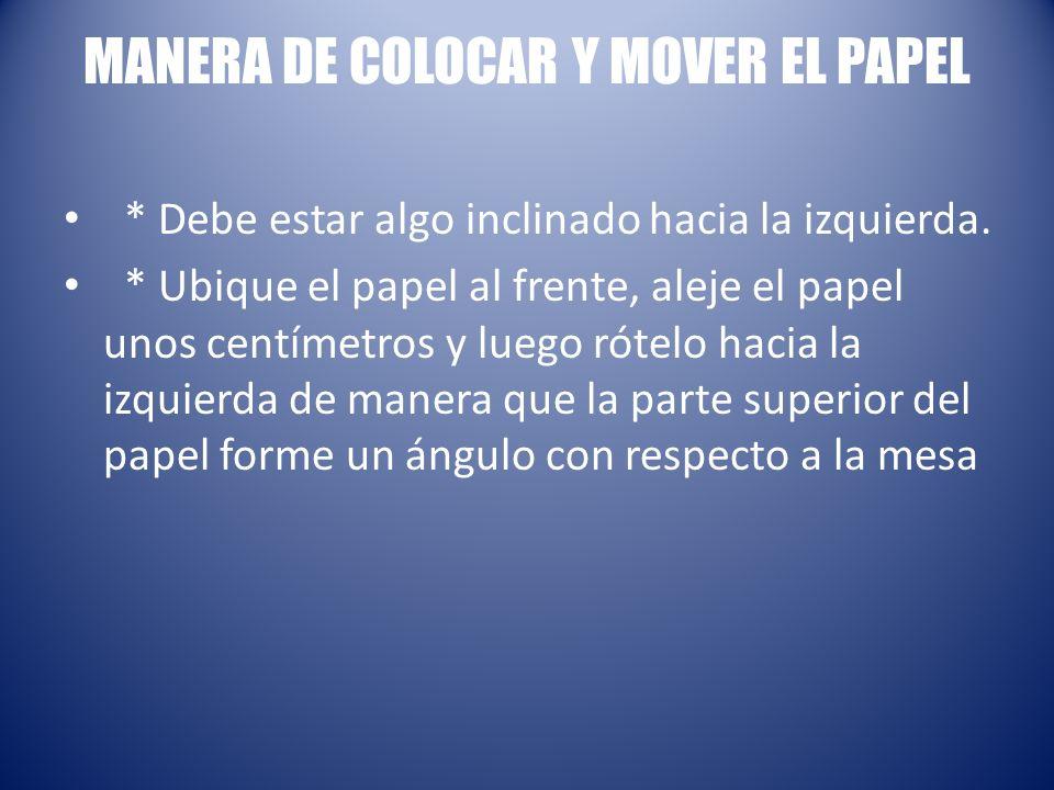 MANERA DE COLOCAR Y MOVER EL PAPEL