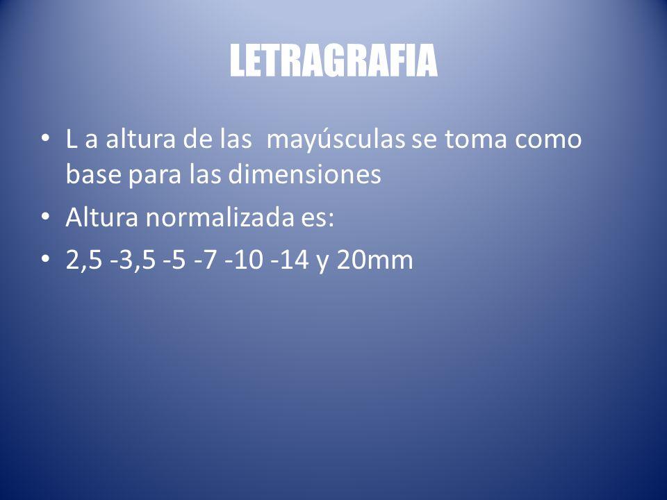 LETRAGRAFIA L a altura de las mayúsculas se toma como base para las dimensiones. Altura normalizada es: