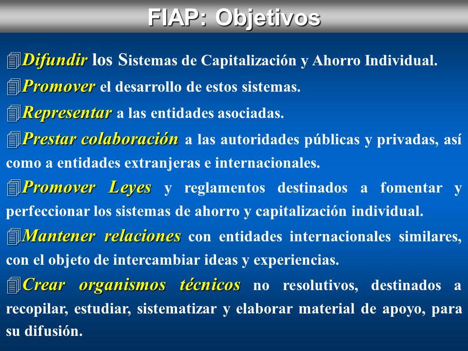 FIAP: Objetivos Difundir los Sistemas de Capitalización y Ahorro Individual. Promover el desarrollo de estos sistemas.