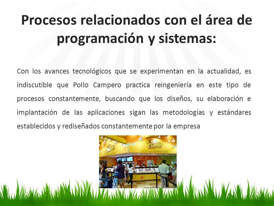 Procesos relacionados con el área de programación y sistemas: