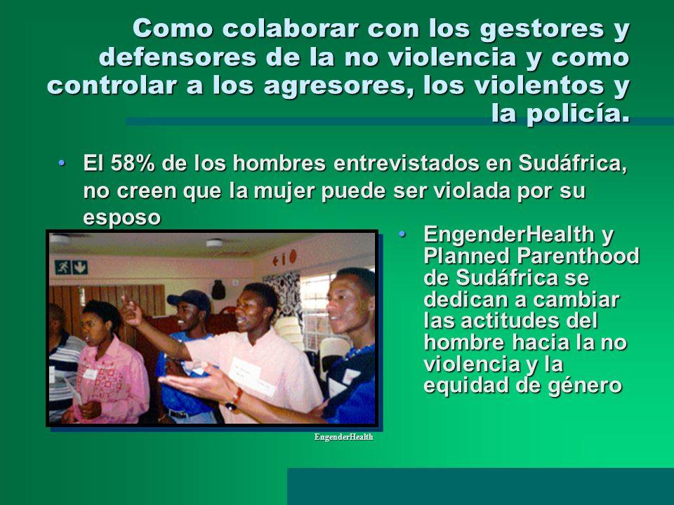 Como colaborar con los gestores y defensores de la no violencia y como controlar a los agresores, los violentos y la policía.