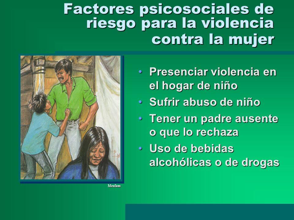 Factores psicosociales de riesgo para la violencia contra la mujer