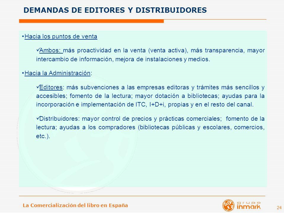 DEMANDAS DE EDITORES Y DISTRIBUIDORES