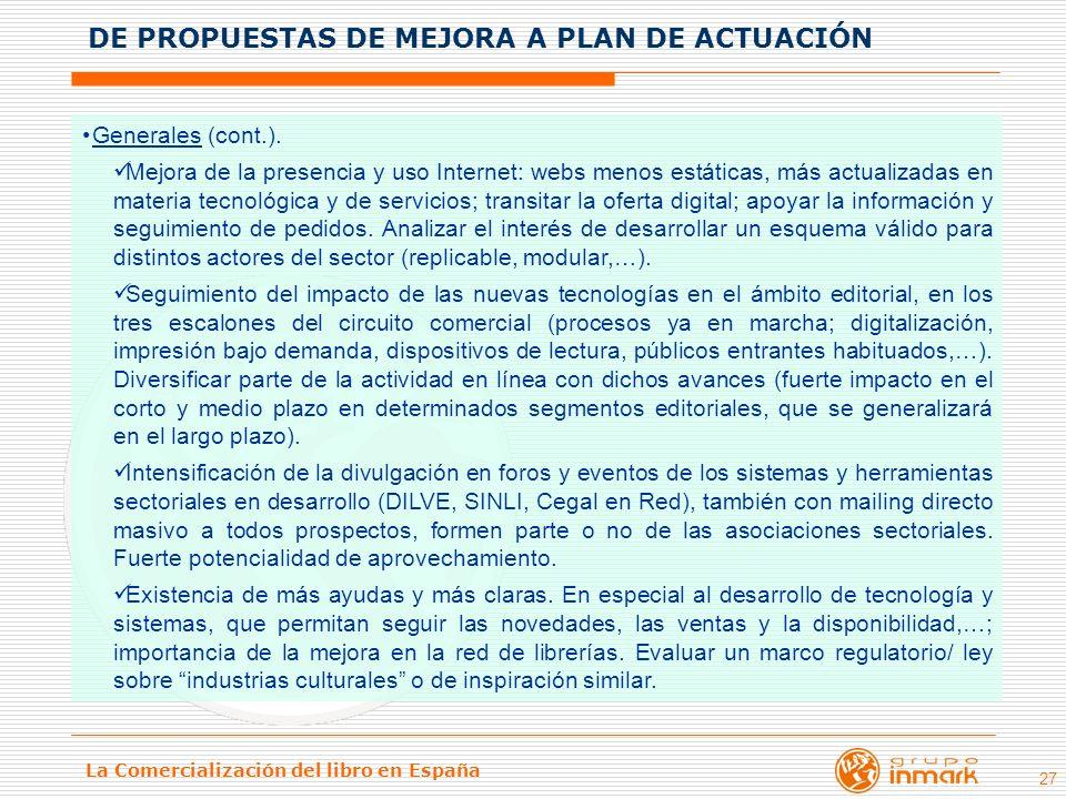 DE PROPUESTAS DE MEJORA A PLAN DE ACTUACIÓN