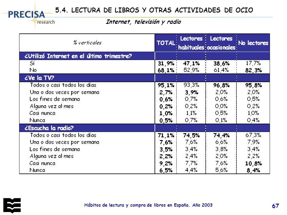 5.4. LECTURA DE LIBROS Y OTRAS ACTIVIDADES DE OCIO