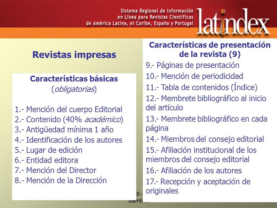 Criterios para revistas impresas
