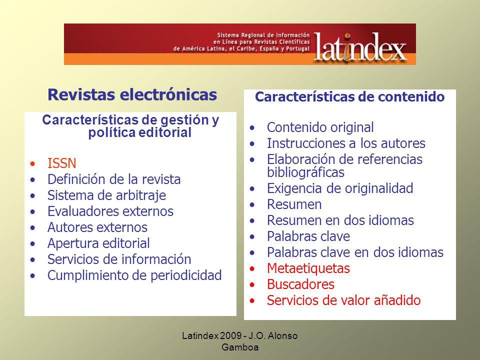 Revistas electrónicas Características de contenido