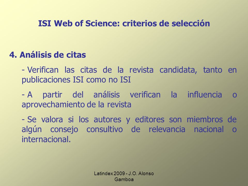ISI Web of Science: criterios de selección