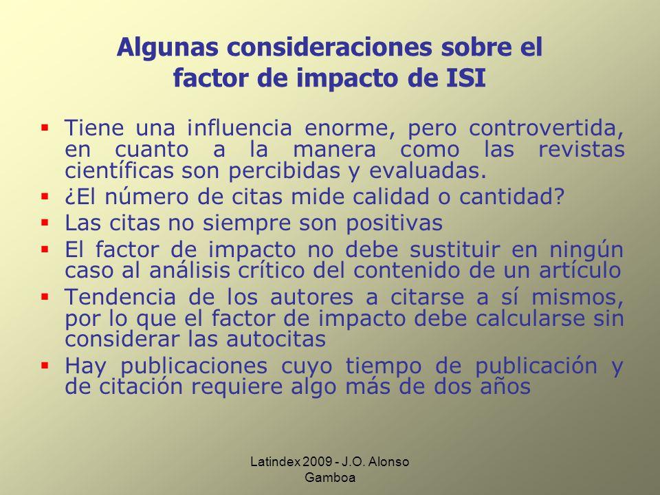 Algunas consideraciones sobre el factor de impacto de ISI