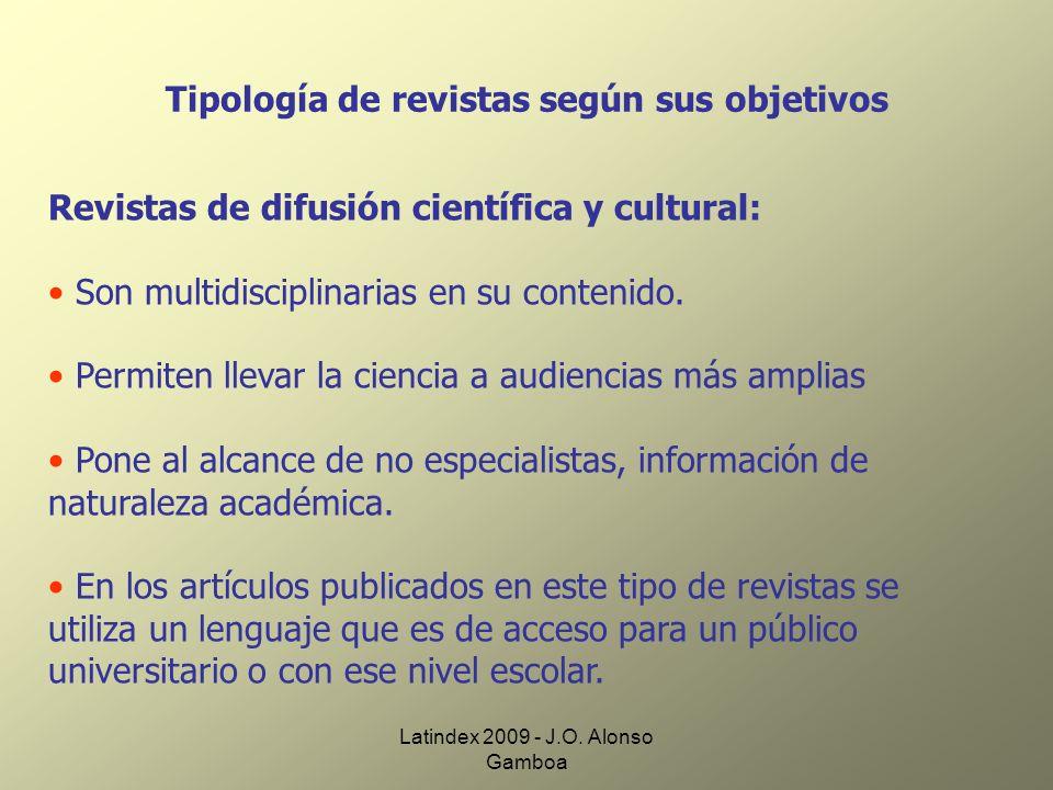 Tipología de revistas según sus objetivos