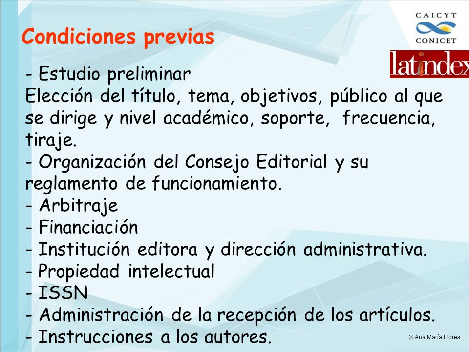 Condiciones previas - Estudio preliminar