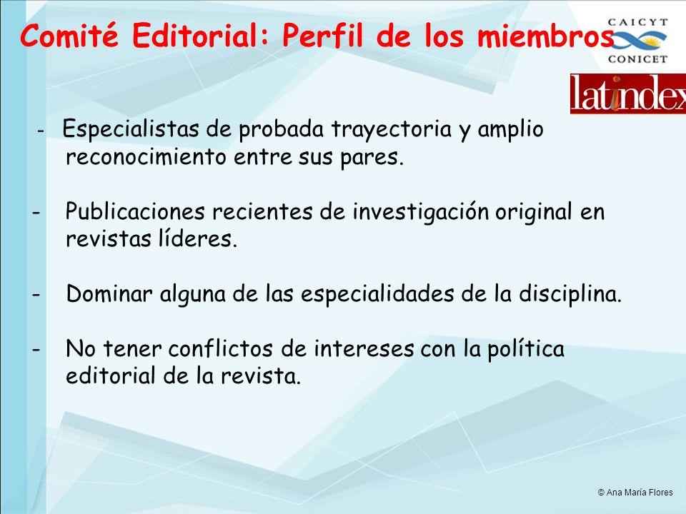 Comité Editorial: Perfil de los miembros