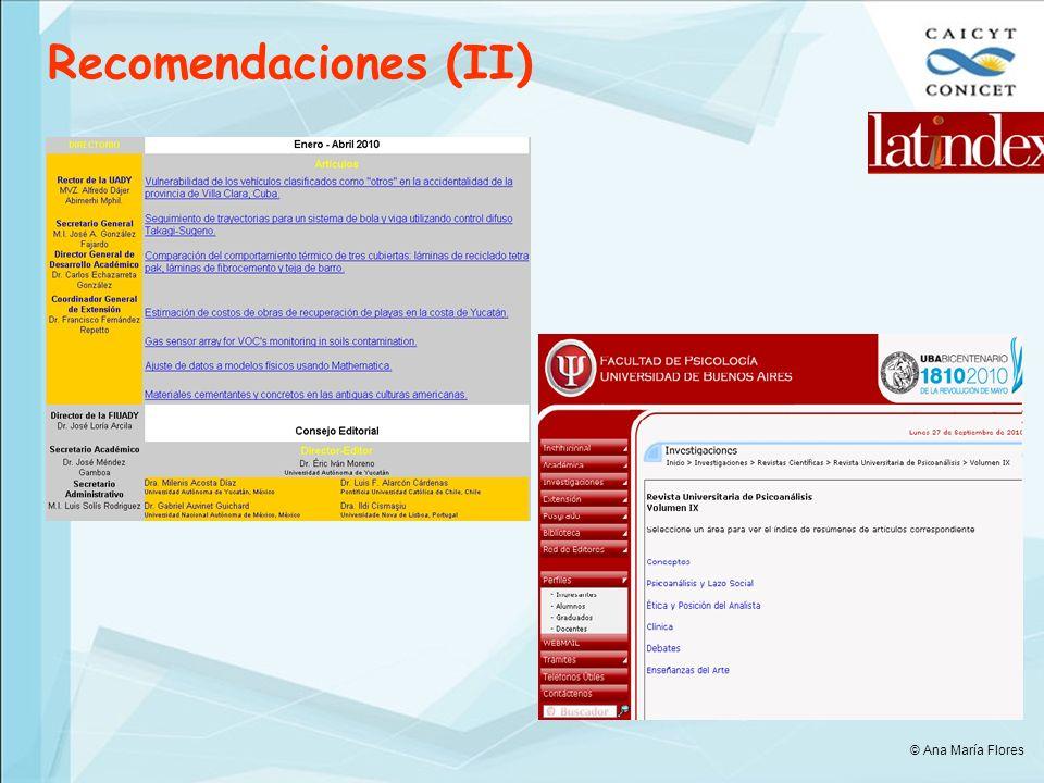 Recomendaciones (II) © Ana María Flores