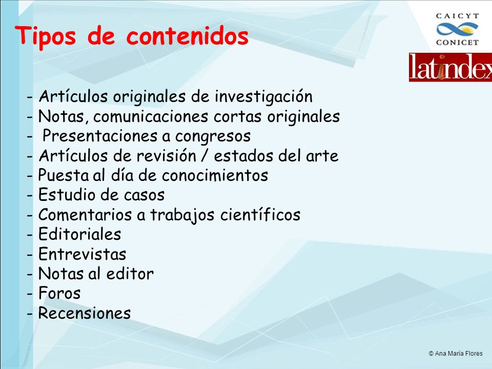 Tipos de contenidos - Artículos originales de investigación