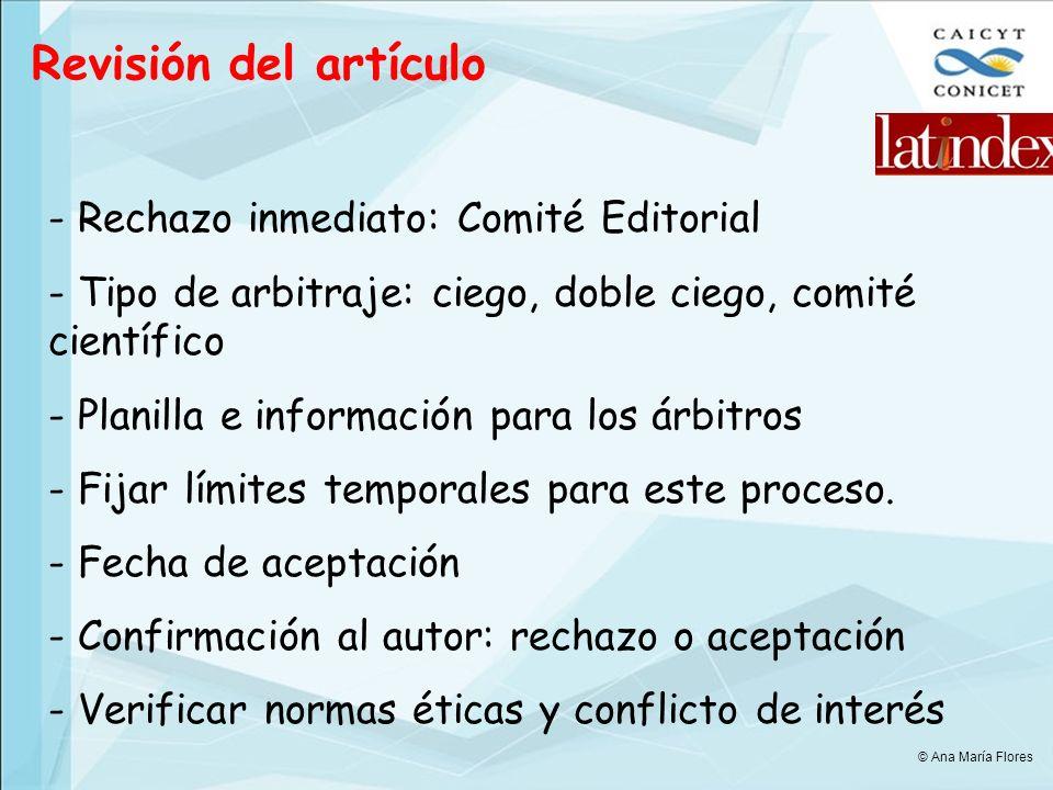 Revisión del artículo Rechazo inmediato: Comité Editorial