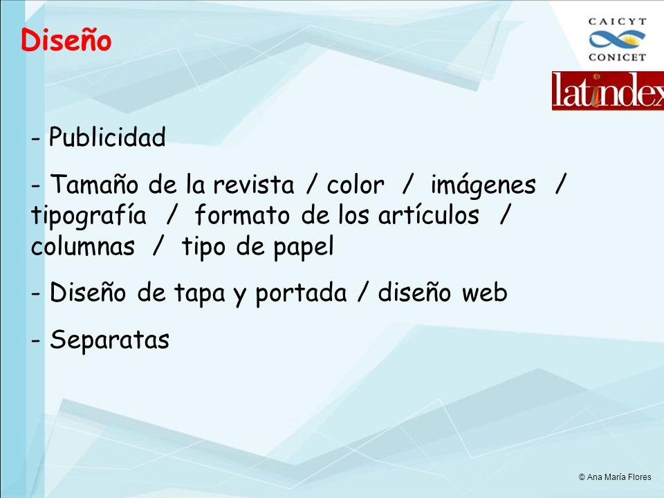 Diseño Publicidad. Tamaño de la revista / color / imágenes / tipografía / formato de los artículos / columnas / tipo de papel.