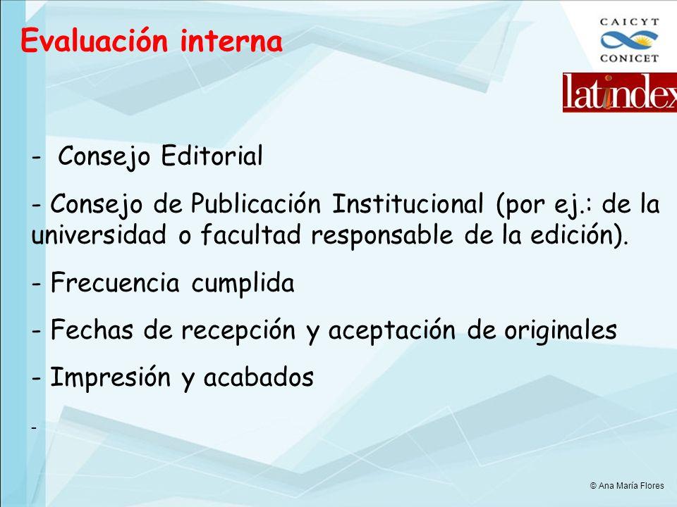 Evaluación interna Consejo Editorial